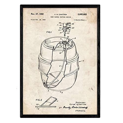 Nacnic Poster con patente de Barril de cerveza. Lámina con diseño de patente antigua en tamaño A3 y con fondo vintage
