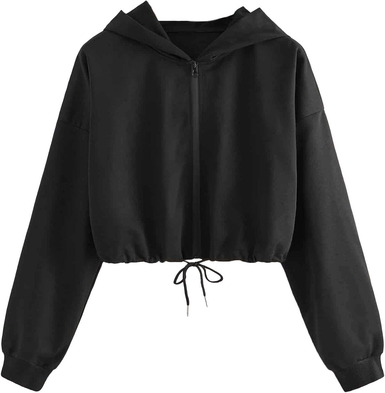 Mulimia Women's Casual Zip Up Long Sleeve Drawstring Hem Crop Hooded Jacket Outwear