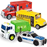 JOYIN 4 PC 7' Long Friction Powered City Play Vehicle Toy Set Including Police Car, School Bus, Garbage Truck, Ambulance, Vehicle Toy with Lights and Sound Siren