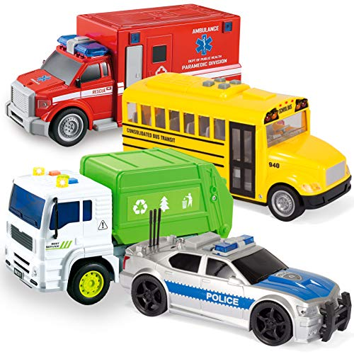 JOYIN 4 PC 7 Long Friction Powered City Play Vehicle Toy Set Including Police Car, School Bus, Garbage Truck, Ambulance, Vehicle Toy with Lights and Sound Siren