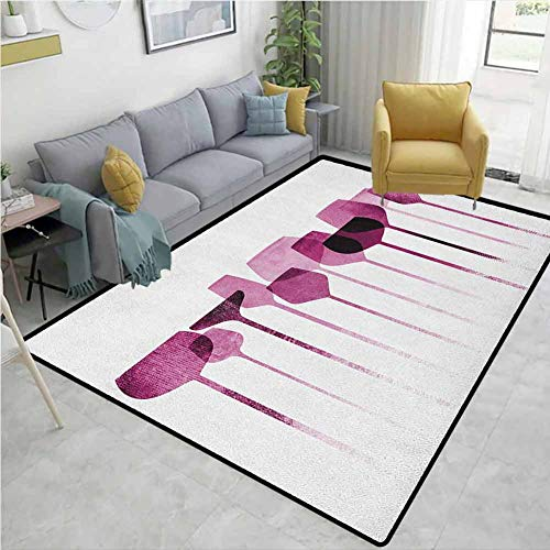 Sale!! YucouHome Wine Fruit Extra Large Area Rug, Conceptual Collage Artwork with Paper Textured Par...