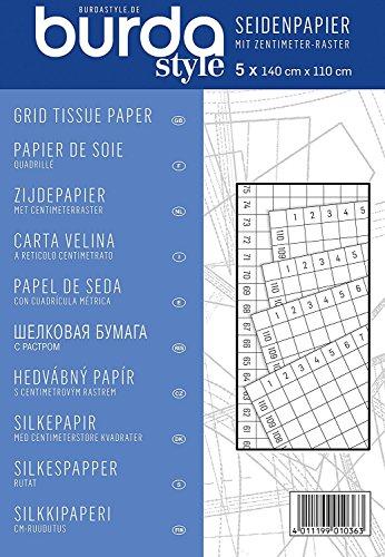 Burda Burdastyle Papier de soie avec grille centimètre Bleu Taille unique