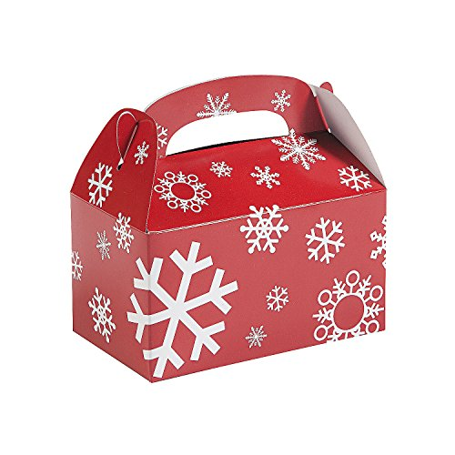 Fun Express - Red/white Snowflake Treat Boxes for Christmas - Party Supplies - Containers & Boxes - Paper Boxes - Christmas - 12 Pieces