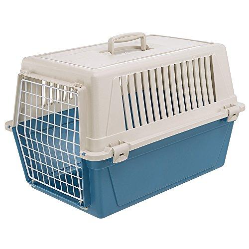 Ferplast Transportbox für kleine Hunde und Katzen Atlas 30 EL, Transportbox für Tiere, robuster Kunststoff, Tür aus kunststoffbeschichtetem Stahl, Lüftungsgitter, 40 x 60 x 38 cm, blau