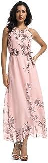 ماكسي فستان للنساء الصيف بدون أكمام صدرية فستان شيفون زهري كاجوال بوهو بيتش وير