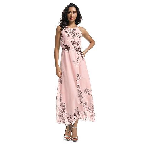 addecbff80 Women's Sleeveless Halter Neck Vintage Floral Print Maxi Dress