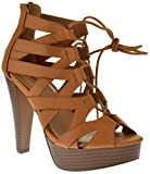 TOP Moda Table 8 Peep Toe High Heel Lace Up Strappy Pumps Tan 8