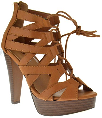 TOP Moda Table 8 Peep Toe High Heel Lace Up Strappy Pumps Tan 10
