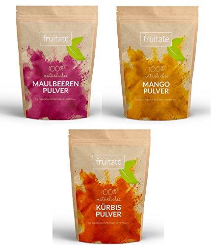 fruitate Frucht- und Gemüsepulver Box 3 x 200g: 1x Maulbeere, 1 x Mango & 1 x Kürbis