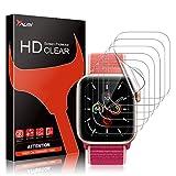 TAURI Compatible con Apple Watch Series 6 SE Series 5 Series 4 44mm 6 Pack sin Burbujas Funda Compatible Instalación Fácil TPU-Film HD Transparente Huella Digita TPU Film Protector