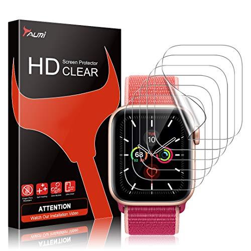 TAURI 6 Pezzi Pellicola Protettiva Compatibile con Apple Watch Series 6 5 4 SE 44mm Pellicola Protettiva in TPU HD Trasparente Senza Bolle Installazione Facile