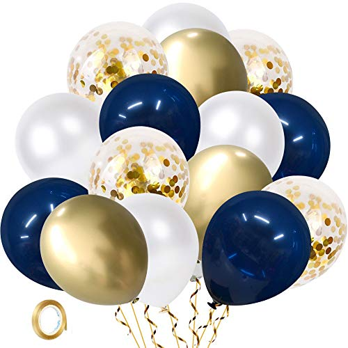 Navy Blue and Gold Confetti Balloons, 60 pcs 12 inch Pearl White and Gold Metallic Chrome Party Latex Balloon with 33 Ft Gold Ribbon for Birthday,Wedding and Celebration Graduation Decoration