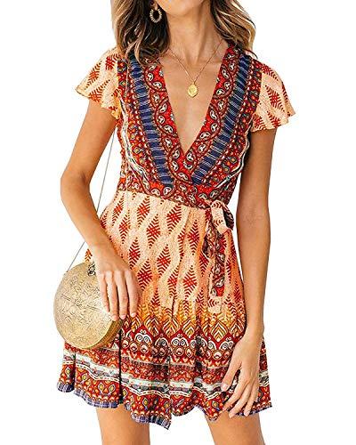 Abravo Mujer Vestido Bohemio Corto Florales Nacional Verano Vestido Casual Magas Cortas Chic de Noche Playa Vacaciones (2XL=EU42-44, Naranja-1)