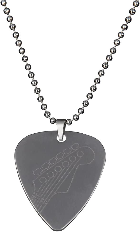 PUNK Stainless Steel Pick Necklace Bass Max 79% OFF for Vari Electric Guitar OFFicial