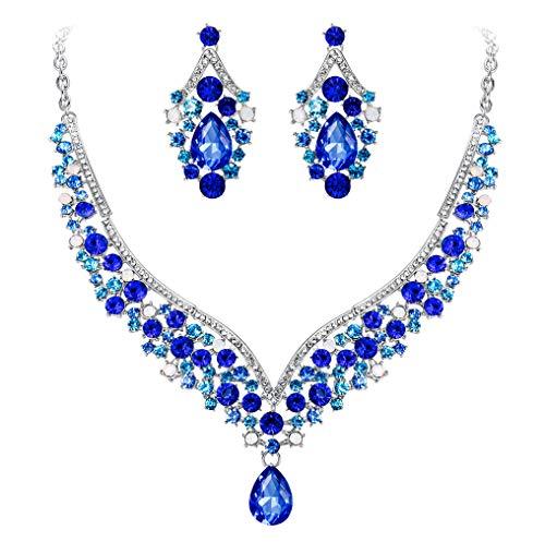 EVER FAITH österreichischen Kristall V-Form Halskette Ohrring Schmuck Set - blau-Silber-Ton...