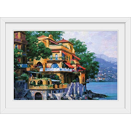 "GREATBIGCANVAS Portofino Villa White Framed Wall Art Print, 18""x12""x1"""