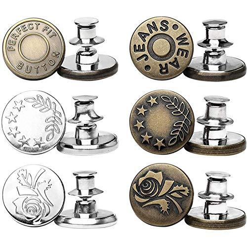 6 juegos de botones instantáneos con botones de Jean, sin coser, instalación simple, reutilizables y...