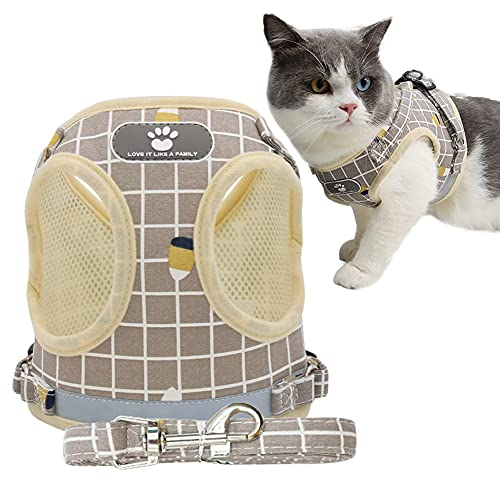 Fitlife Katzengeschirr mit Leine Aausbruchsicher Einstellbarer Welpengeschirr Katzengarnitur Geschirr für Katzen Verstellbar atmungsaktivem Mesh -M