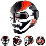 Iron Man Casco de Carreras,Halloween Iron Man Casque Moto,Profesional Modular Motocicleta Casco Capacete B,M=57~58CM