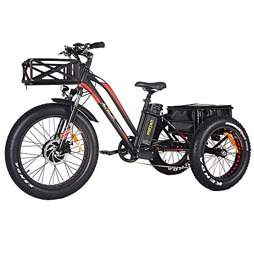 Addmotor Motan Electric Tricycles 24 Inch Fat Tire Electric Trike Bicycle Trike 3 Wheel Ebikes 750W 16Ah Lithium Battery Rear Basket Cargo M-350 P7 Ebikes Cruise Trike with Supension Fork