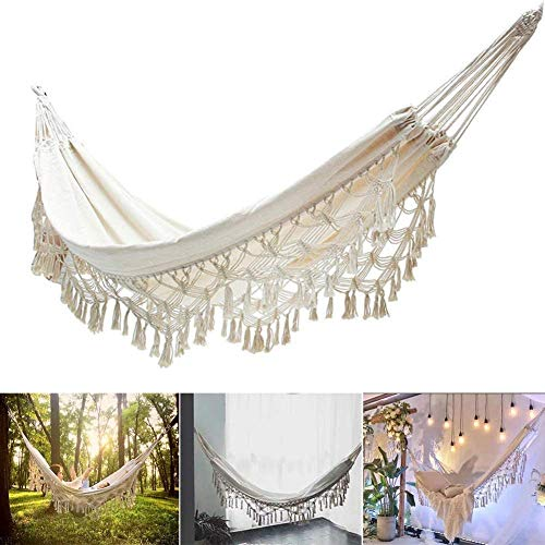 zaizai Boho Brazilian Macrame Hammock With Fringes 2 Person Foldable Hammock Swing Net Chair Rocking Bed For Patio, Porch, Bedroom, Yard, Beach, Indoor, Outdoor, Wedding Reception Decor