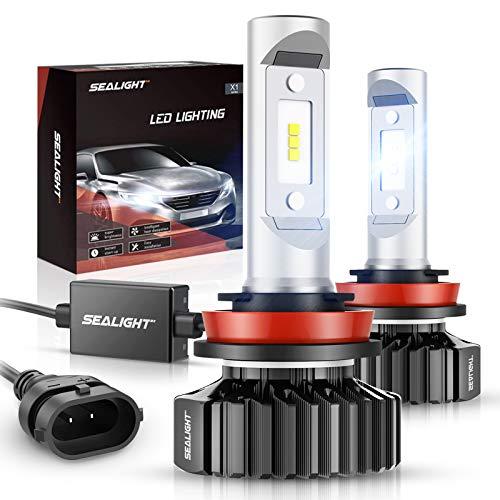 SEALIGHT H11/H8/H9 LED Headlight Bulbs X1 Series 12 CSP Chips 6000LM 6000K Xenon White Non-polarity