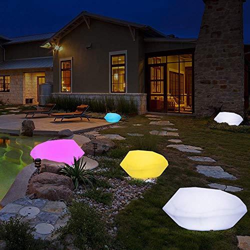 GH-YS LED-Solar-Stehlampe für den Außenbereich, Gartenbeleuchtung aus Steingarten, 16 RGB-Farben, 4 Modi, mit drahtloser Fernbedienung, wasserdichtes dekoratives Licht IP56 für Rasenwege, 220 V ST