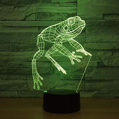 Lámpara de ilusión luminosa 3D lámpara de cabecera forma de rana 7 colores cambio de color interruptor táctil lámpara de mesa decoración luz cumpleaños regalo de Navidad belleza plana