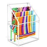 Heavy Duty Vertical Poolside Pipe Towel Rack for Pool, Lake, RV, PVC Outdoor Pool Beach Towel Rack Shelf, Include 4 Small Towel Clips and Installation Hammer