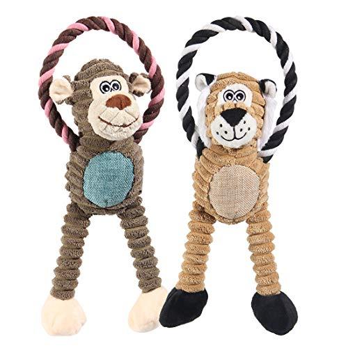Nollary Kauspielzeug für Hunde mit niedlichem Löwen- und Affen-Design, Plüschspielzeug für Langeweile und Unterhaltung