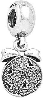Romántico Amor Christams Tree on Jingle Bell Charms Silver Winter Dangle Bead fit Pandora Bracelet