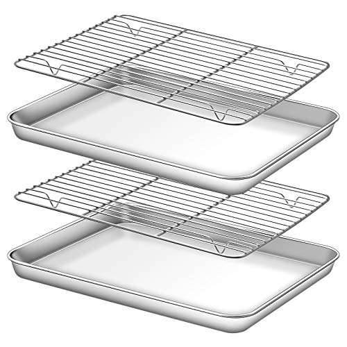 Deedro Baking Sheet with Rack Set [2 Sheets + 2 Racks], Stainless Steel Cookie Half Sheets Baking Pan Oven Tray with Cooling Rack, 12 x 10 x 1 Inch, Heavy Duty, Non-toxic, Easy Clean