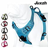 JUXZH Soft  Dog Harness .3M Reflective No Pull Harness with handle and Two Leash Attachments