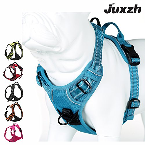JUXZH Soft Dog Harness .3M Reflective No Pull Harness with handle and Two