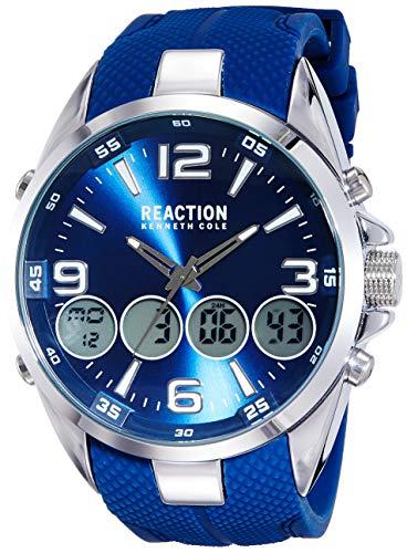 Kenneth Cole Herren-Chronograph Reaction blau | Herrenuhr | Quarz | silberfarben