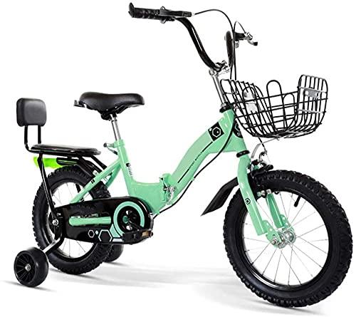 Bicicleta plegable para niños de 12 a 20 pulgadas para niños de 3 a 12 años/con cesta auxiliar rueda/marco tripulado (5 colores) - verde_66.7cm/26.2in