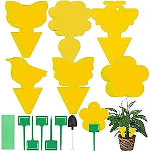 Tiras Atrapamoscas,36 Piezas Trampas de Mosca Pegajosas de Doble Cara Amarillas para Insectos de Planta, Trampas Adhesivas Dobles(Amarilla)