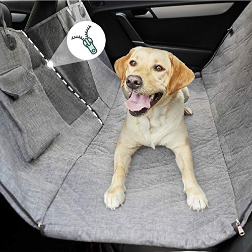 LIFEFAIR Dog Backseat Hammock Seat, 100% Waterproof Pet Seat Cover with Mesh Window, Scratch Proof Nonslip Dog Car Hammock, Dog Cover for Car, Backseat Dog Cover for Cars Trucks SUV