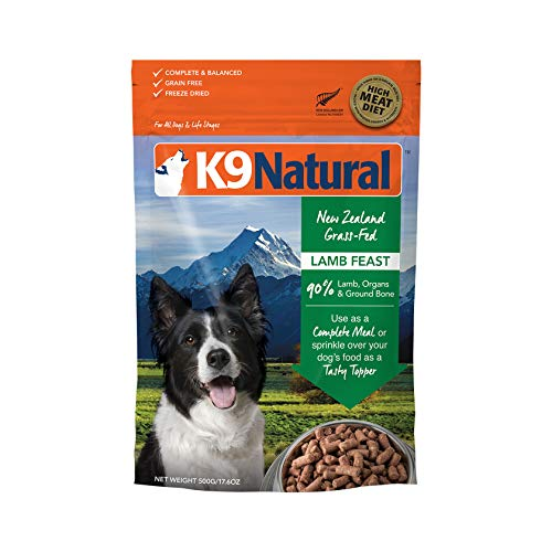 Freeze Dried Dog Food Or Topper By K9 Natural - Perfect Grain Free, Healthy, Hypoallergenic Limited Ingredients Booster For All Dog Types - Raw, Freeze Dried Mixer - Lamb 17.6Oz Pack