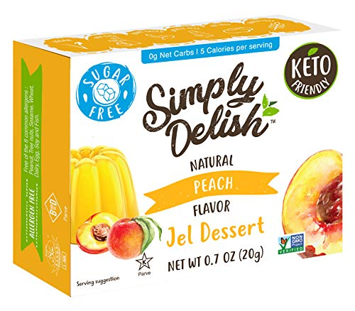 Simply Delish Natural Peach Jel Dessert - Sugar Free, Non GMO, Gluten Free, Fat Free, Lactose Free, Keto Friendly - 0.7 OZ (Pack of 6)