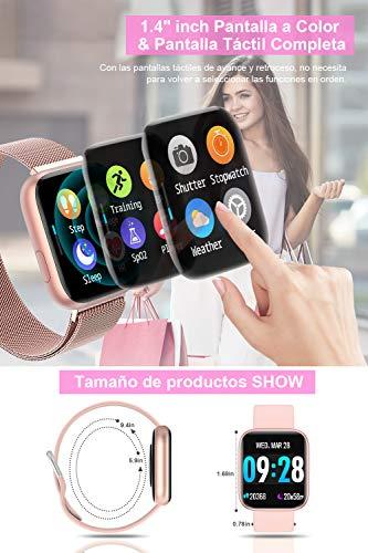 BANLVS Smartwatch Reloj Inteligente IP67 con Correa Reemplazable Pulsómetro, Monitor de Sueño, Presión Arterial, 1.4… 3