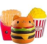 ZhengYue 3PCS Squishy Toys - Jumbo Squishies Profumato a Crescita Lenta Squeeze Antistress Peluche Miglior Regalo per Ragazze (Popcorn + Patatine Fritte + Hamburger)