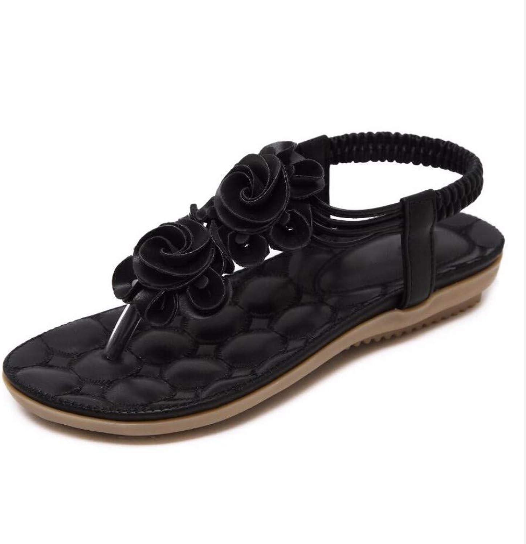 ZPSPZ sandals womens Summer Open-Toed Ladies Sandals Bohemian Flower Flat-Soled Toe Sandals