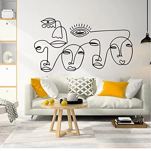 Personas cara ojo labio nariz arte línea amor pared pegatina arte moderno Piasso línea cara pared calcomanía vida 56x31cm