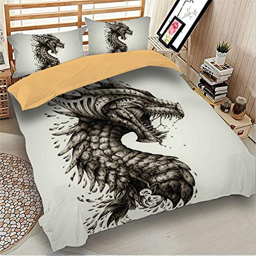 LULU Duvet Cover Set Three-piece Pterosaur Series 3D Printing Bed Linings 1 * Quilt Cover 2 * Pillowcase (Color : A, Size : Single(135 * 200cm))