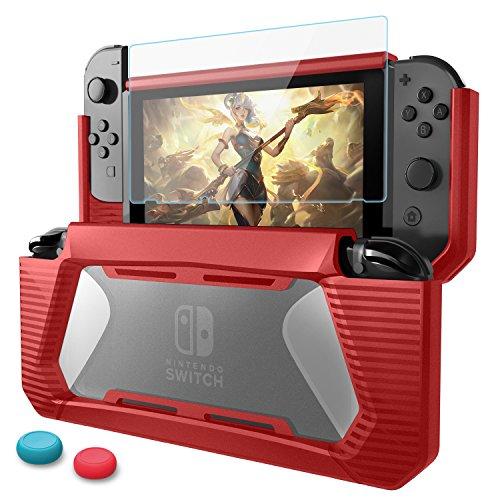 HEYSTOP Funda Compatible con Nintendo Switch con Protector de Pantalla, TPU PC Carcasa de Protección para Nintendo Switch, Anti-Choques/Arañazo (Rojo)