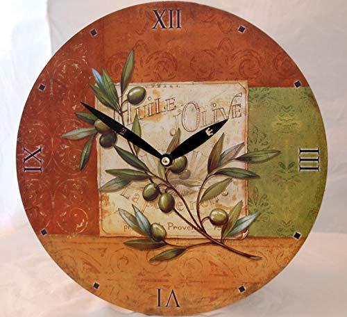 IMC Wanduhr Motiv Olive mediterran günstig Quartz Uhr Küchenuhr Küche Esszimmer Wohnzimmer