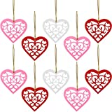 60 Pieces Valentine's Day Heart Shaped Decoration Felt Heart Hanging Ornament Red and Pink Heart Shaped Cutout Heart Tree Embellishment with Rope for Valentine Wedding Party Anniversary Home Decor