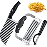 3 Pieces Fruit Vegetable Crinkle Cut Knife Set Large Stainless Steel French Fries Slicer Crinkle Chip Cutter Handheld Chipper Chopper Potato Chopping Knife Peeler for Home Kitchen Wavy Blade Cutting