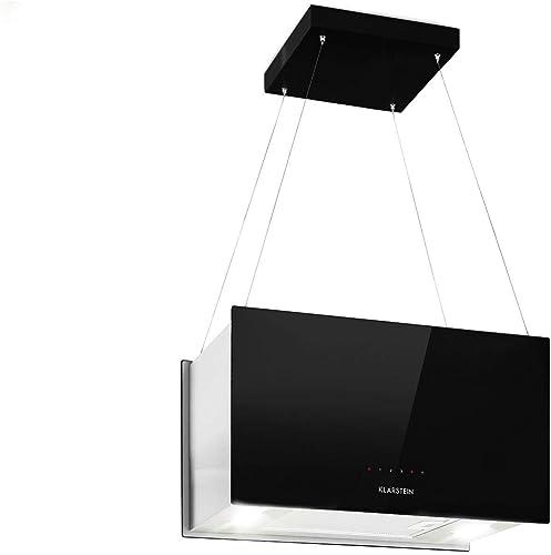 Klarstein Kronleuchter L Black Edition - Hotte aspirante îlot, 60 cm, 590 m³/h aspiration, Tactile LED, Filtre à grai...